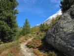 La montée se poursuit avec les sommets enneigés au loin