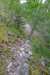 Bifurcation pour le Col du Pas de l'Echelle (dans mon dos), Col de la Buchille en suivant ce pierrier