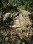 Le sentier est taillé dans la roche