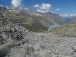 Puis nous passons le Monte Moropass, retour en Suisse. Le lac de Mattmark en vue