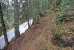 Le sentier se suit assez bien, parfois en devers, parfois des branches qui obstrue le passage.