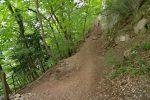 On rejoint le chemin qui traverse une partie du Salève à flanc de coteau, on tourne à gauche, et montons les escaliers suivants