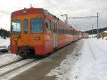 Départ depuis la Givrine, 1208m, arrêt du train NStCM sur demande