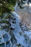 Chemin bien étroit, l'endroit où j'ai eu du gel.